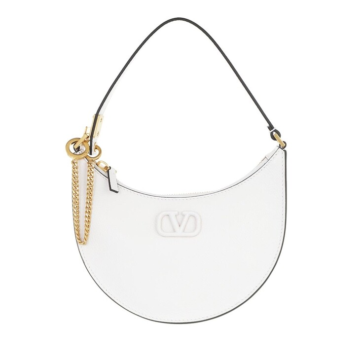bags, Valentino Garavani, Mini V-Logo Signature Hobo Bag Leather White
