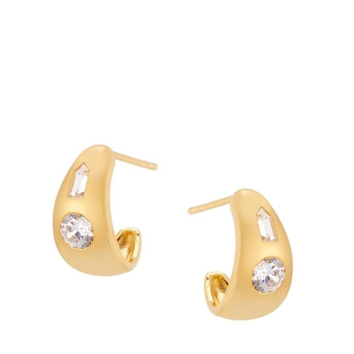 Ohrring, V by Laura Vann, Tina Small Chubby Hoop Earrings Yellow Gold