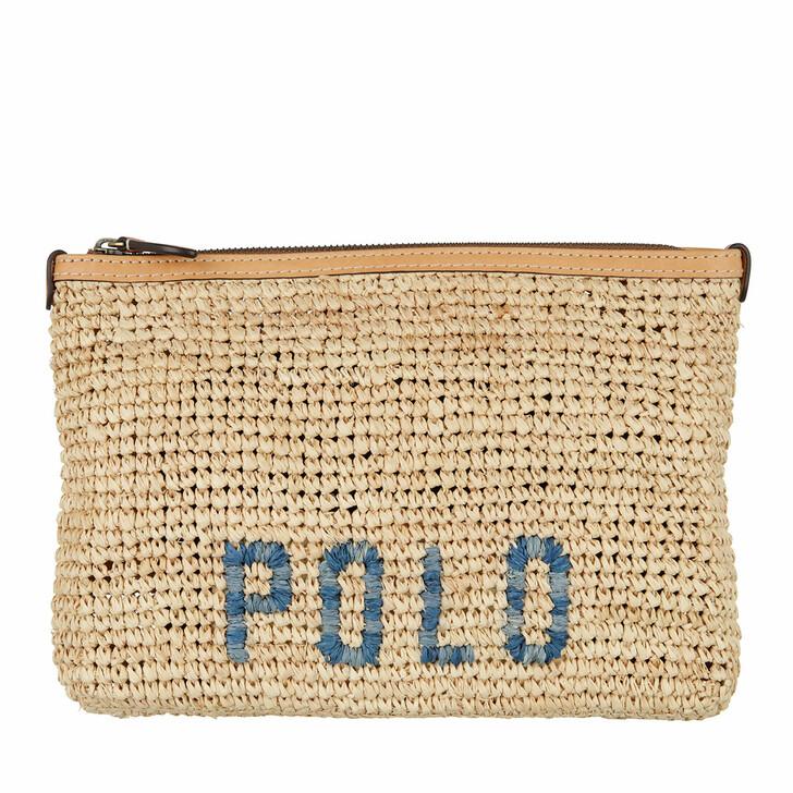 Handtasche, Lauren Ralph Lauren, Raffia Pouch Pouch Small Natural/Blue Multi