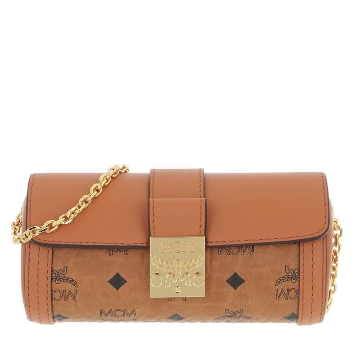 bags, MCM, Tracy Visetos Cylinder Mini Bag Cognac