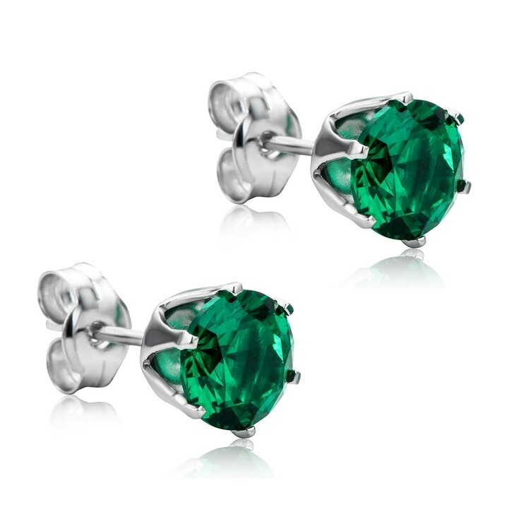 Ohrring, DIAMADA, 9KT Created Emerald Earring White Gold