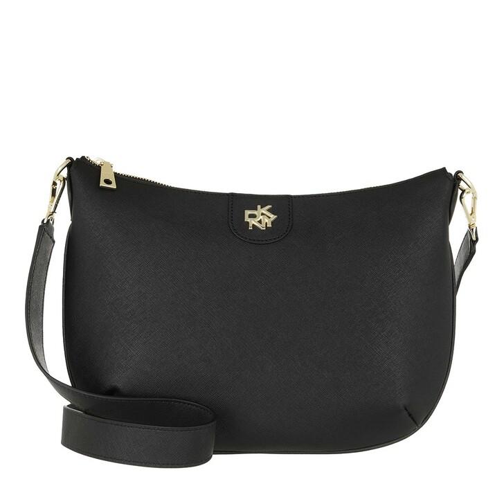 Handtasche, DKNY, Carol Saddle Crossbody Black Gold