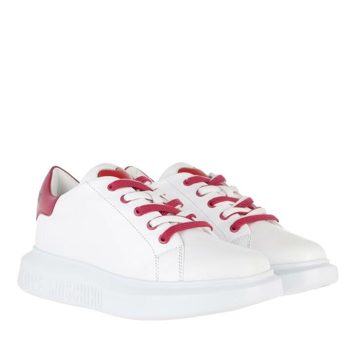Schuh, Love Moschino, Sneakerd Gomma40 Vit  Bianco Fuxia