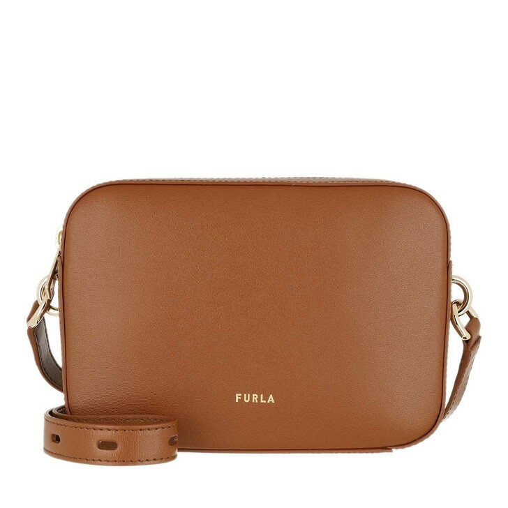 Handtasche, Furla, Block Mini Crossbody Cognac