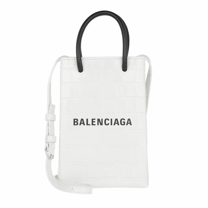 Smartphone/Tablet case (Case), Balenciaga, Shopping Phone Holder Bag Leather White/Black
