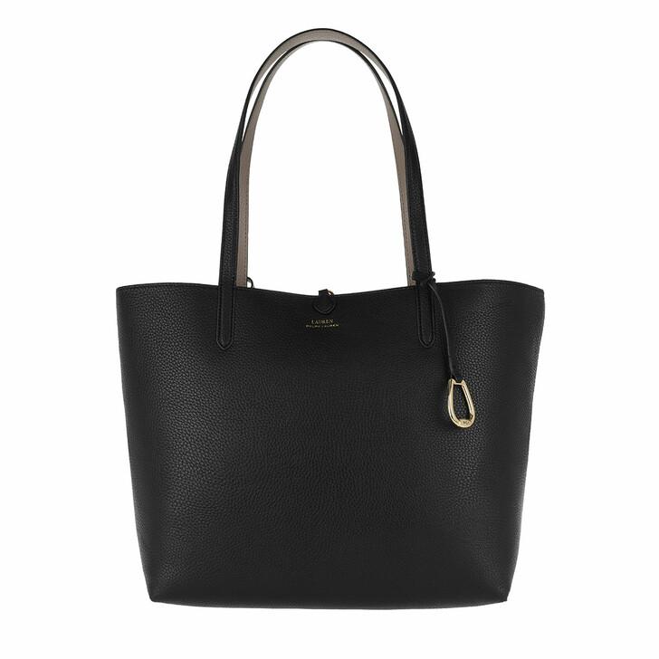 bags, Lauren Ralph Lauren, Reversible Tote Medium Black/Taupe