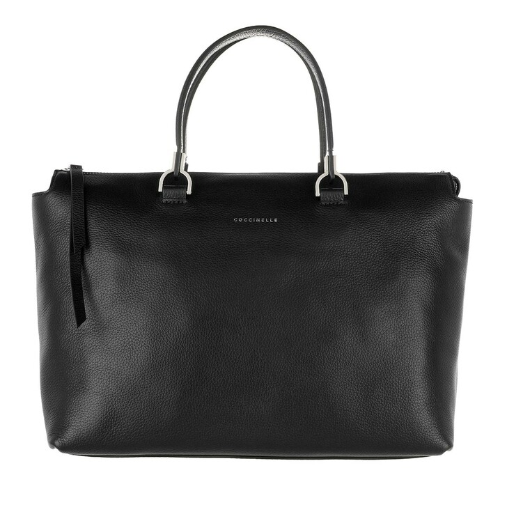 bags, Coccinelle, Shopping Bag Grained Leather Noir