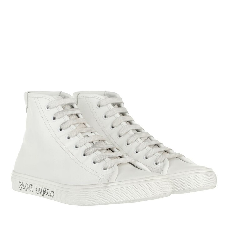 Schuh, Saint Laurent, Malibu Mid Top Sneakers Smooth Leather White