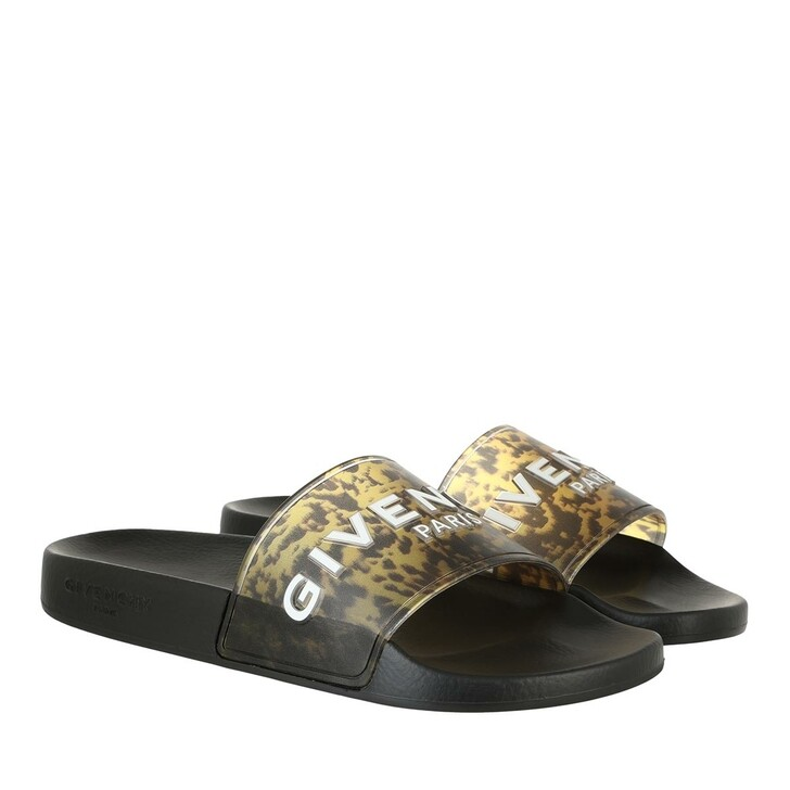 shoes, Givenchy, Marble Flat Sandals Black Yellow