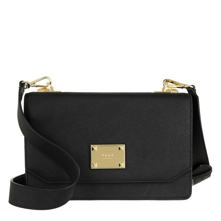 Handtasche, DKNY, Perla Large Flap Crossbody Black Gold