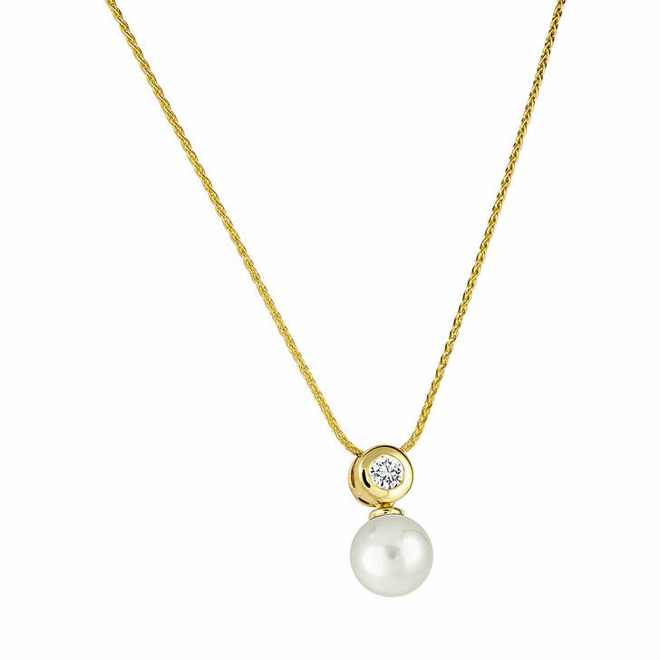 necklaces, diamondline, Pendant/Chain 585 1 Diamond approx. 0,10 ct. H-si  Yellow Gold