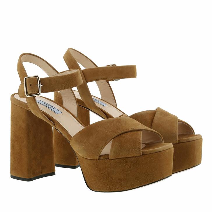 Schuh, Prada, Criss Cross Platform Sandals Brown