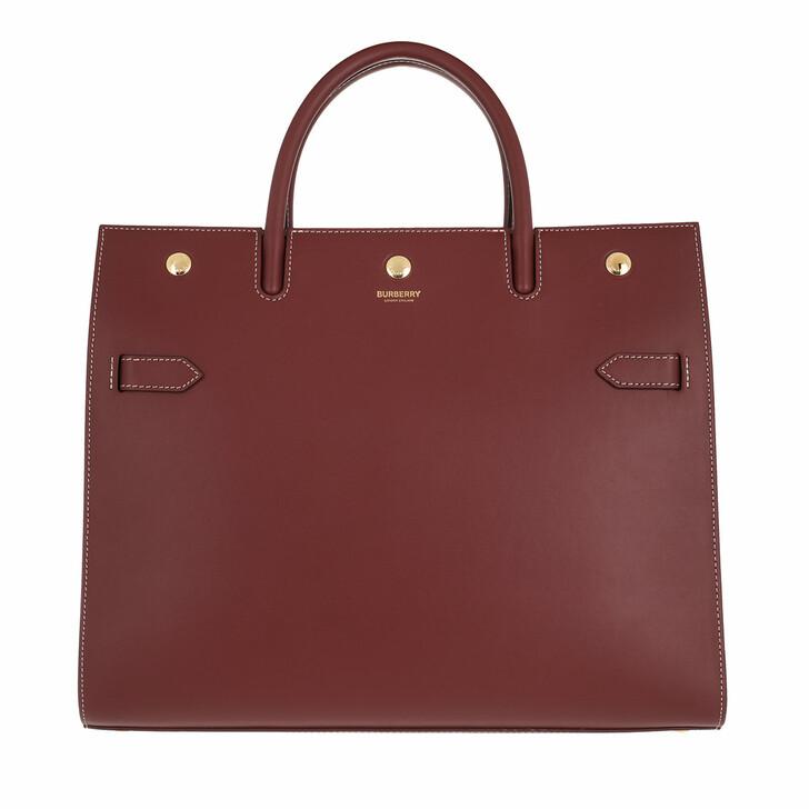 bags, Burberry, Medium Title Handle Bag Leather Garnet