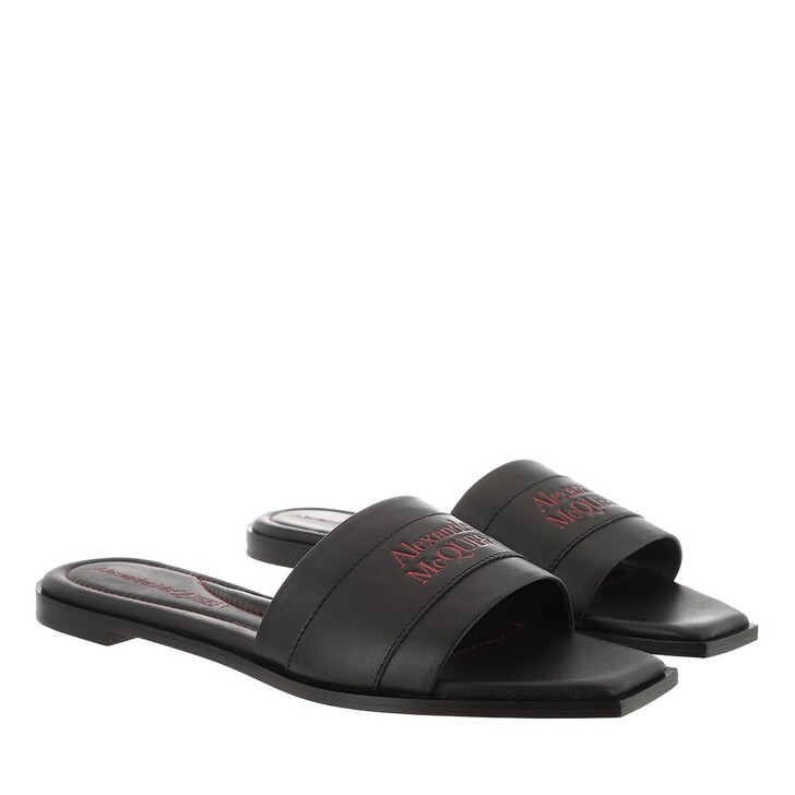 Schuh, Alexander McQueen, Slipper Leather Black/Red