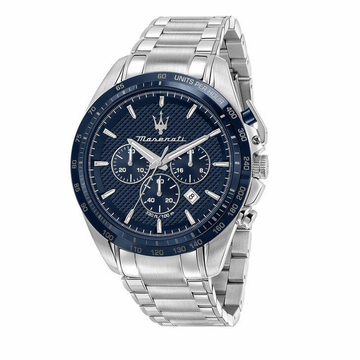 watches, Maserati, Watch Traguardo 45mm Chr Blue and Silver