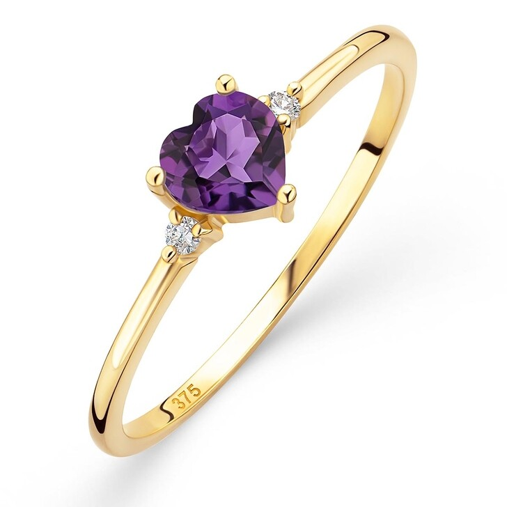 rings, DIAMADA, 9K Ring with Diamond and Amethyst Yellow Gold and Purple