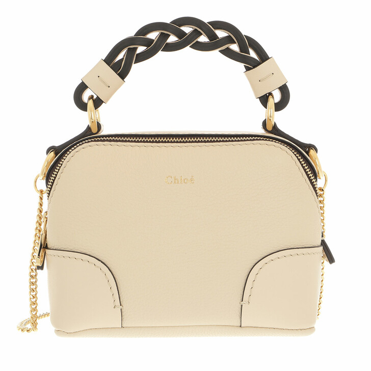 bags, Chloé, Mini Daria Chain Crossbody Bag Leather Beige