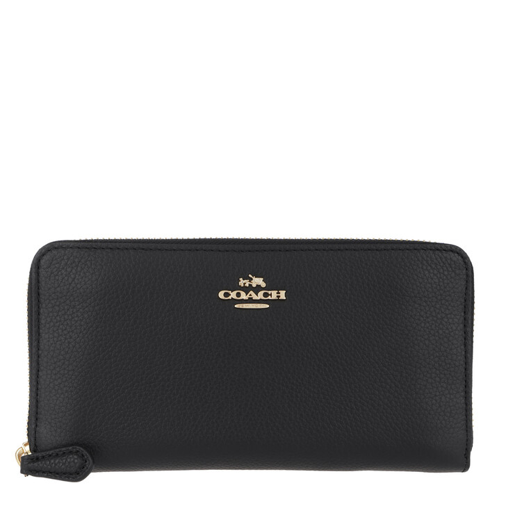 Geldbörse, Coach, Polished Pebble Leather Accordion Zip Wallet Black