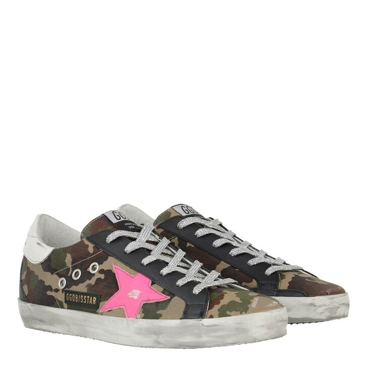Schuh, Golden Goose, Superstar Sneakers Green Camouflage/Fuxia