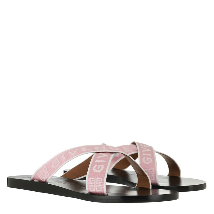 Schuh, Givenchy, Logo Strap Sandals Pink White