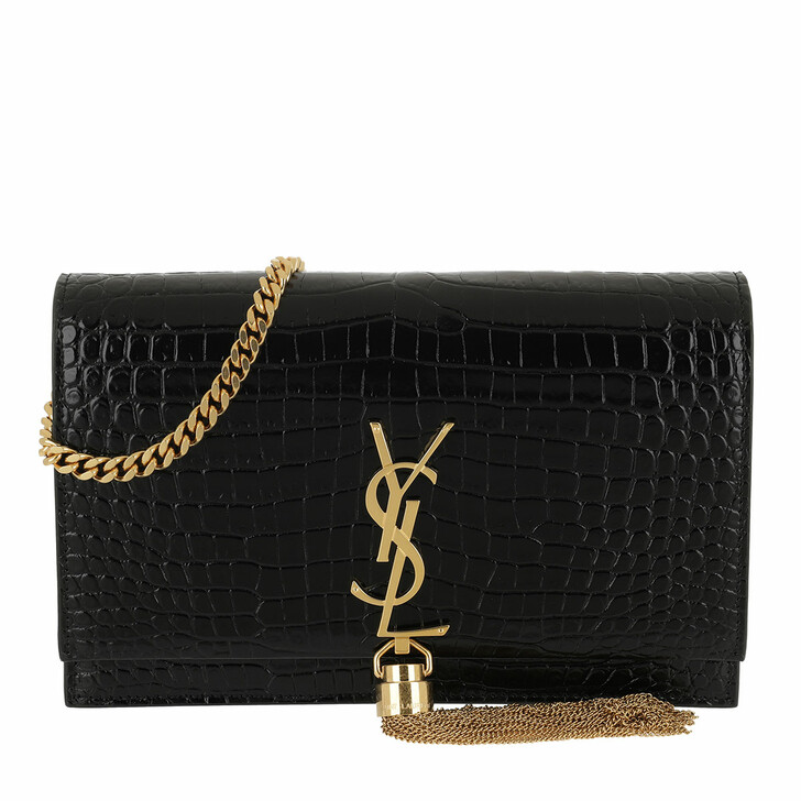 Handtasche, Saint Laurent, Kate Monogramme Wallet On Chain Black / Gold