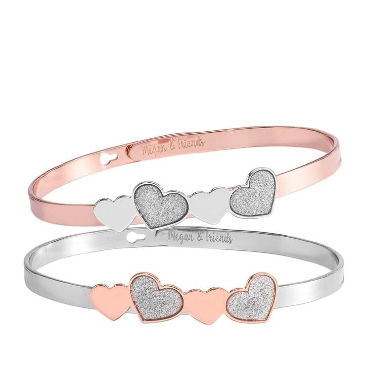 Armreif, Megan & Friends, Bangle Set Heart Silver/rosegold