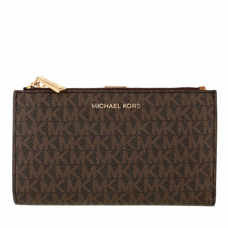 bags, MICHAEL Michael Kors, Doublezip Wristlet Brown