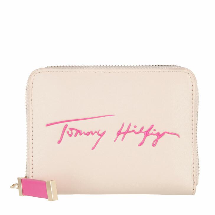 Geldbörse, Tommy Hilfiger, Iconic Tommy Med Za Sign Classic Beige / Hot Magenta