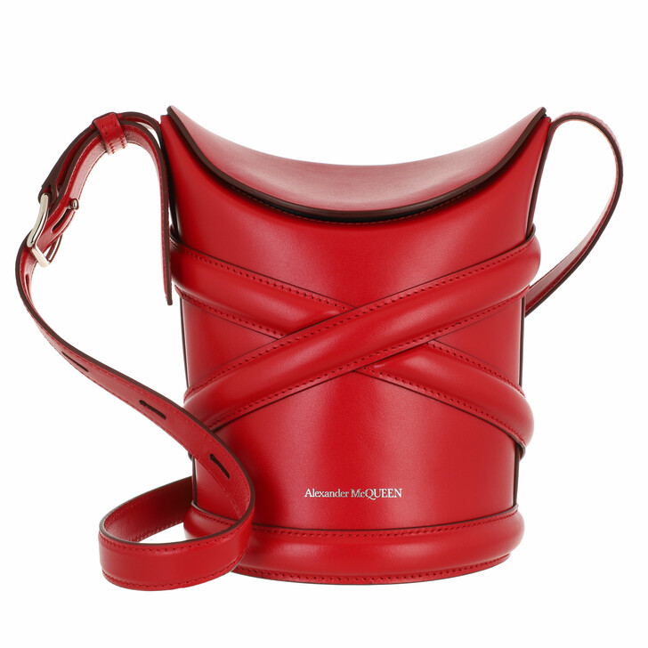 bags, Alexander McQueen, The Curve Bucket Bag Leather Red