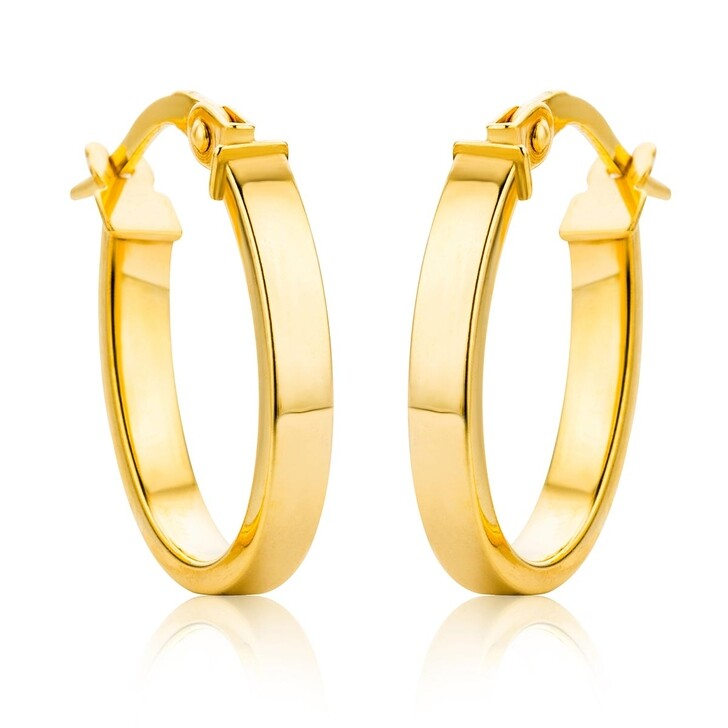 Ohrring, DIAMADA, 14KT Oval Creole Earring Yellow Gold