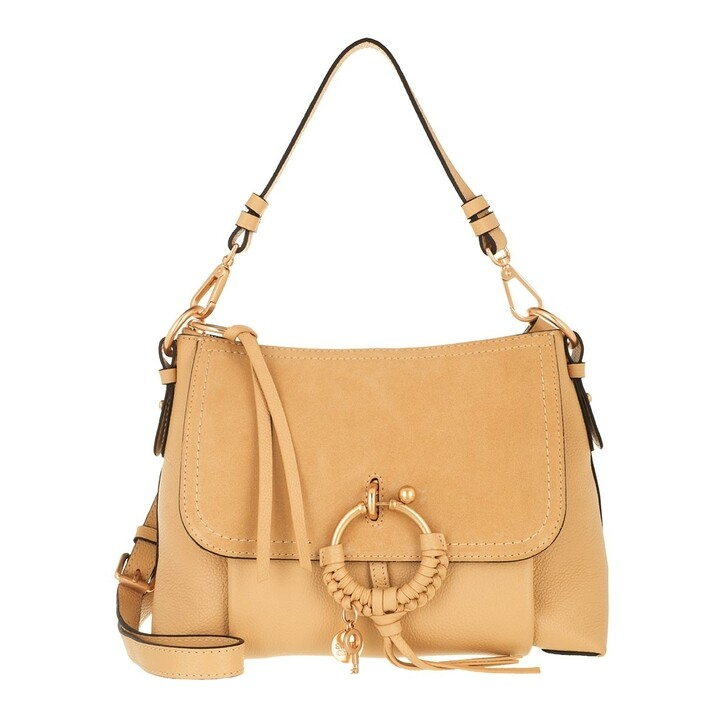bags, See By Chloé, Joan Grained Shoulder Bag Leather Seed Brown
