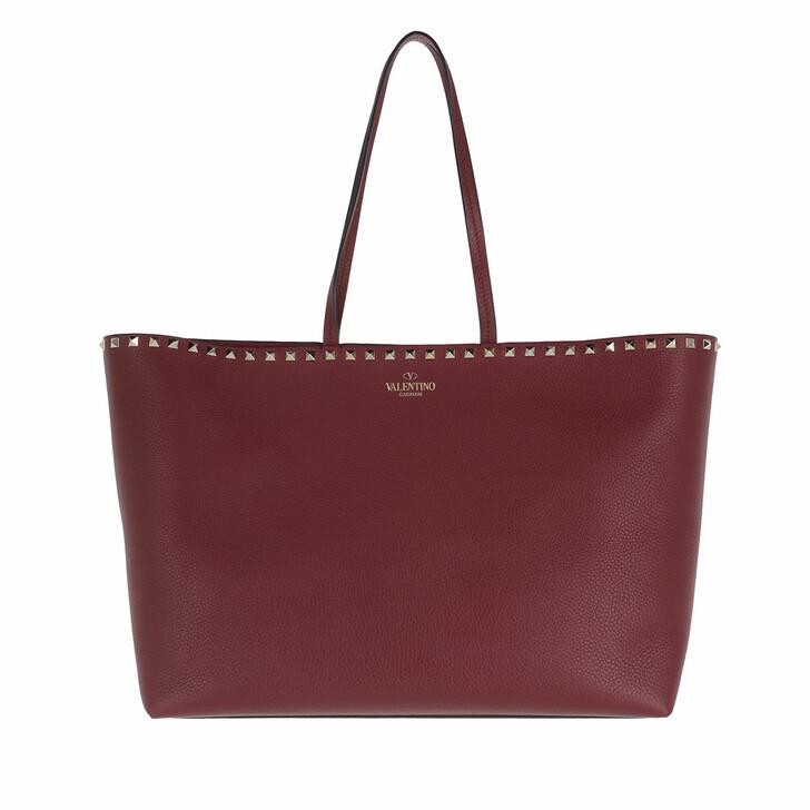Handtasche, Valentino, Rockstud Shopping Bag Leather Burgundy