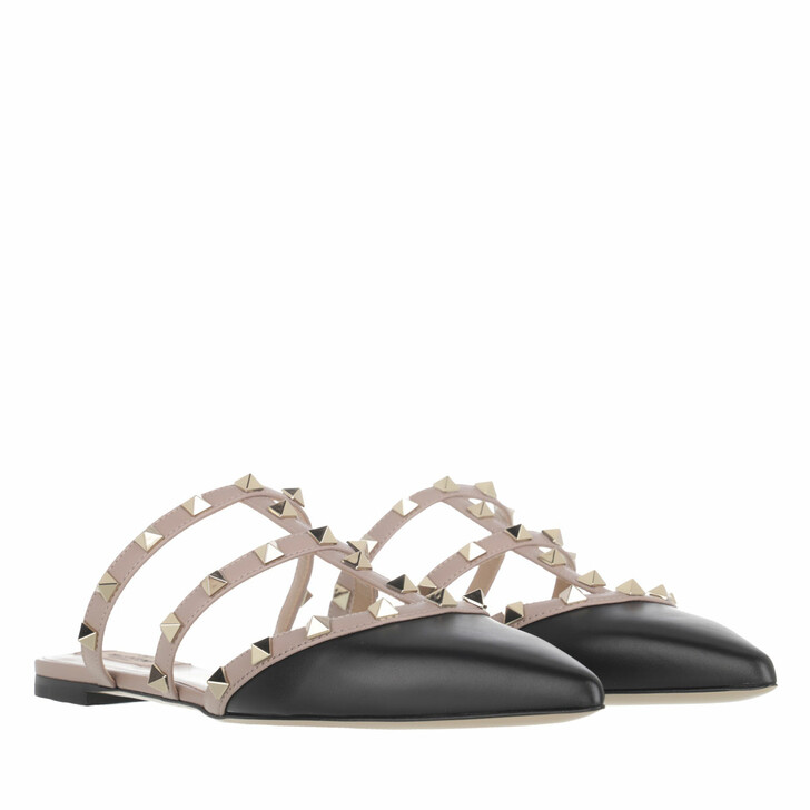 shoes, Valentino Garavani, Rockstud Flat Leather Mules Black Poudre