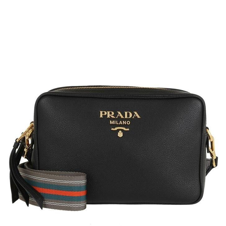 bags, Prada, Double Zipper Shoulder Bag Black