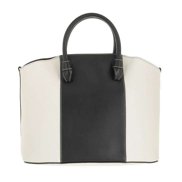 bags, Furla, Furla Miastella L Tote Nero+White Cotton