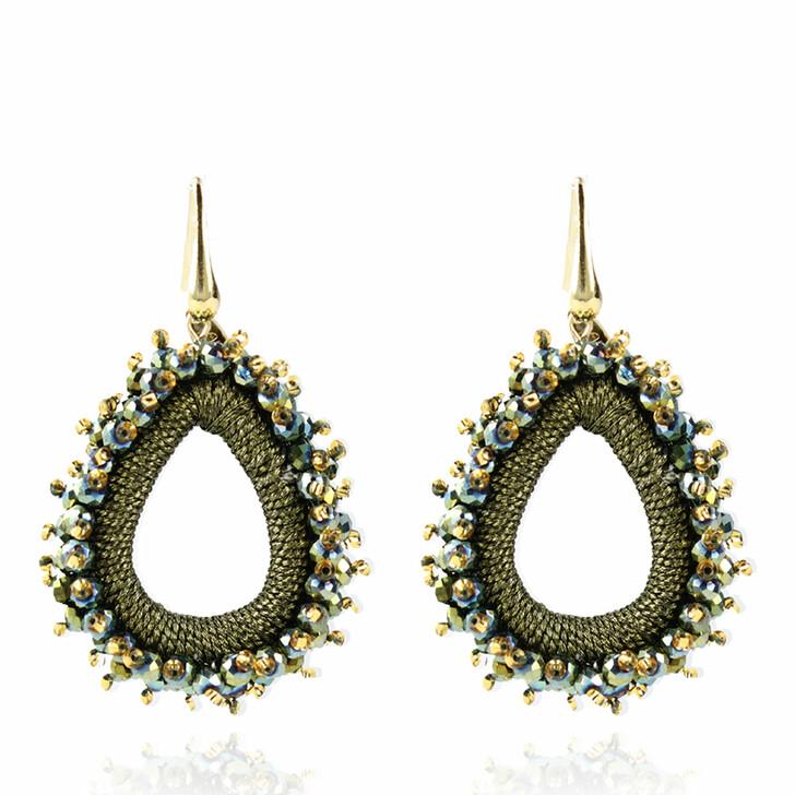 earrings, LOTT.gioielli, Earring Silk Urchin Drop Medium Green and Gold