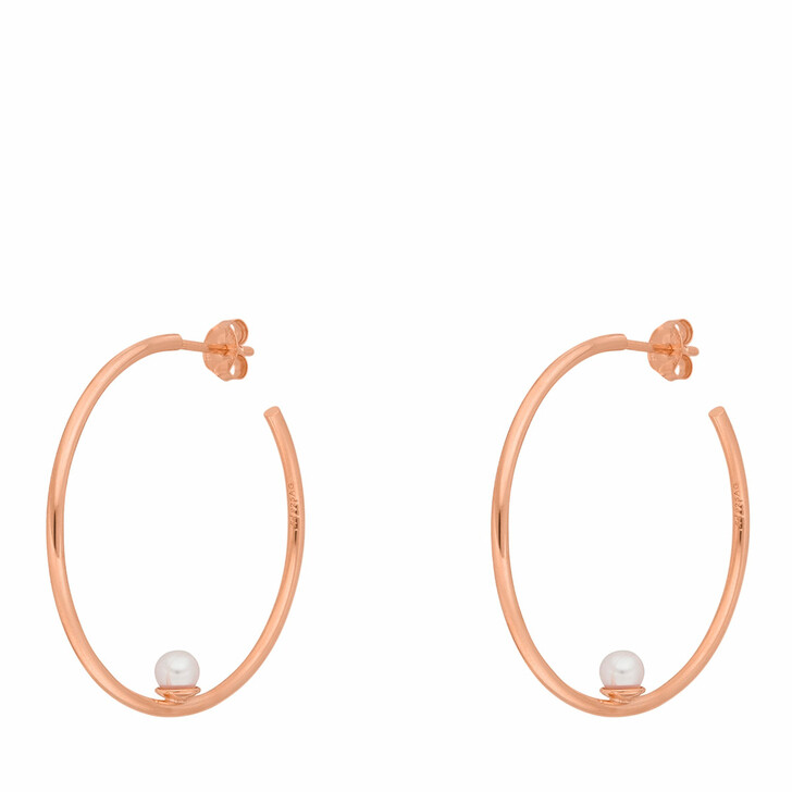 Ohrring, Leaf, Hoops Circle with Pearl Rose gold