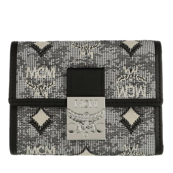 wallets, MCM, Visetos Jacquard Mini 3 Fold Wallet Black
