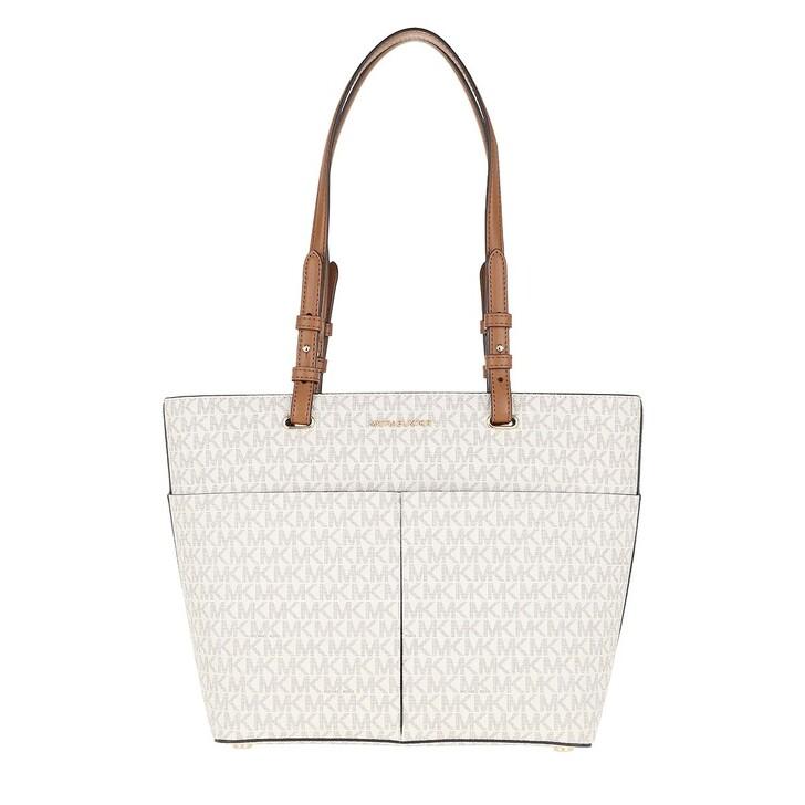 bags, MICHAEL Michael Kors, Bedford Medium Pocket Tote Bag Vanilla/Acorn