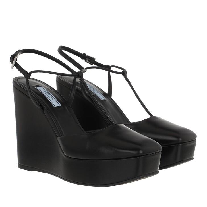 Schuh, Prada, Square-Toe Wedge Pumps Black