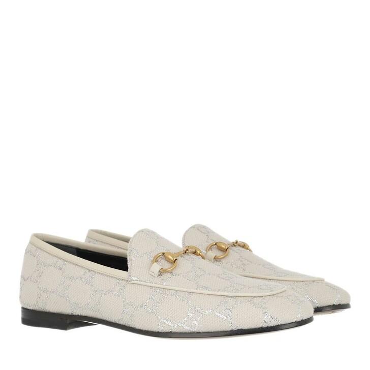 Schuh, Gucci, Jordaan Loafer GG Lamé Gardenia Silver