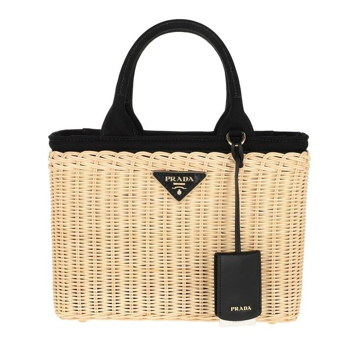 Handtasche, Prada, Wicker and Canvas Handbag Tan Black
