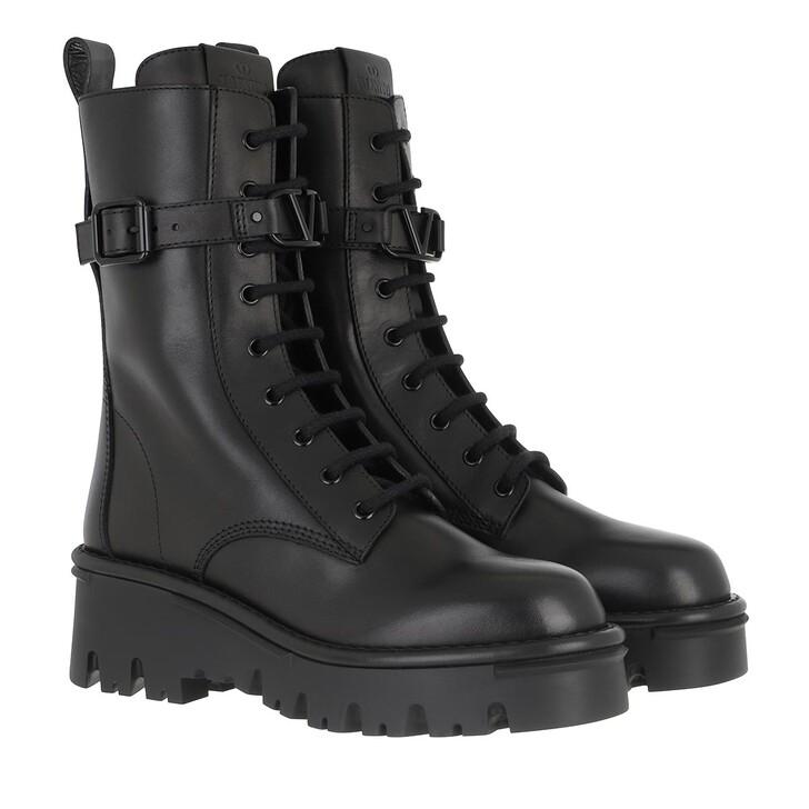 Schuh, Valentino Garavani, High Combat Boots Leather Black