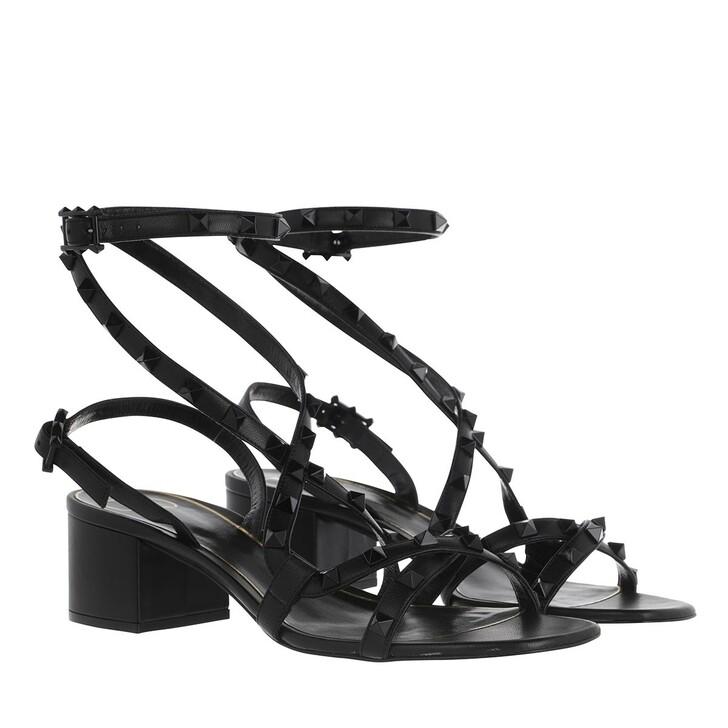 shoes, Valentino Garavani, Cross Over Sandals Leather Black