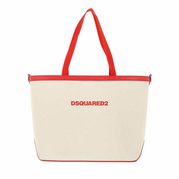 bags, Dsquared2, Logo Print Shopping Bag Beige/Black