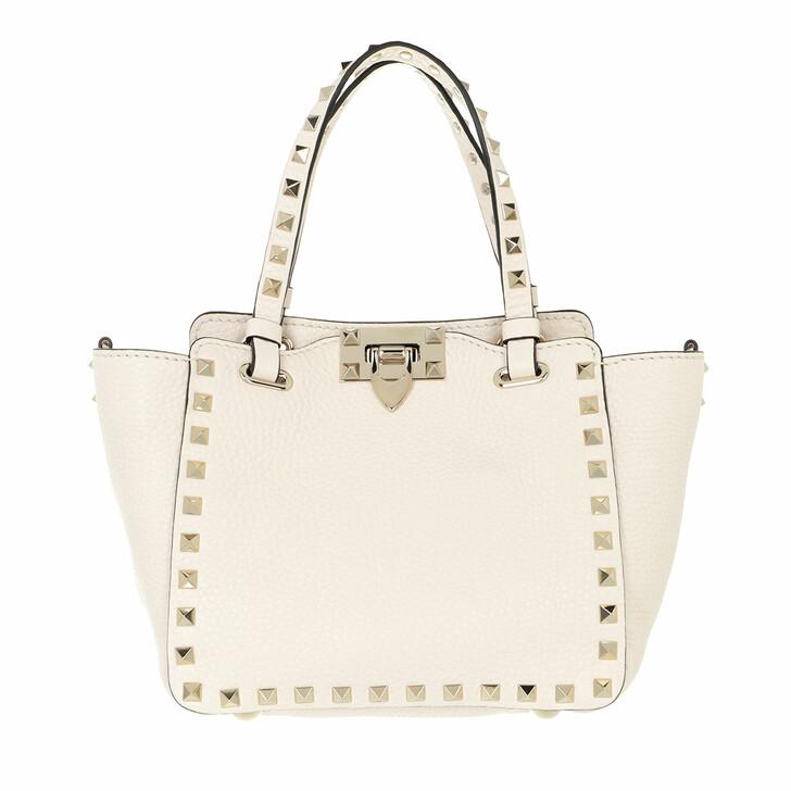 bags, Valentino Garavani, Mini Rockstud Tote Bag Light Ivory