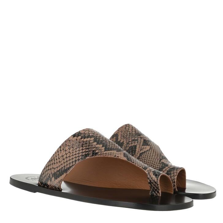 Schuh, ATP Atelier, Rosa Printed Snake Sandals Brown