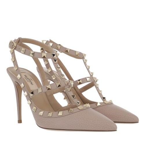 valentino garavani -  Pumps & High Heels - Rockstud Ankle Strap Pump - in beige - für Damen
