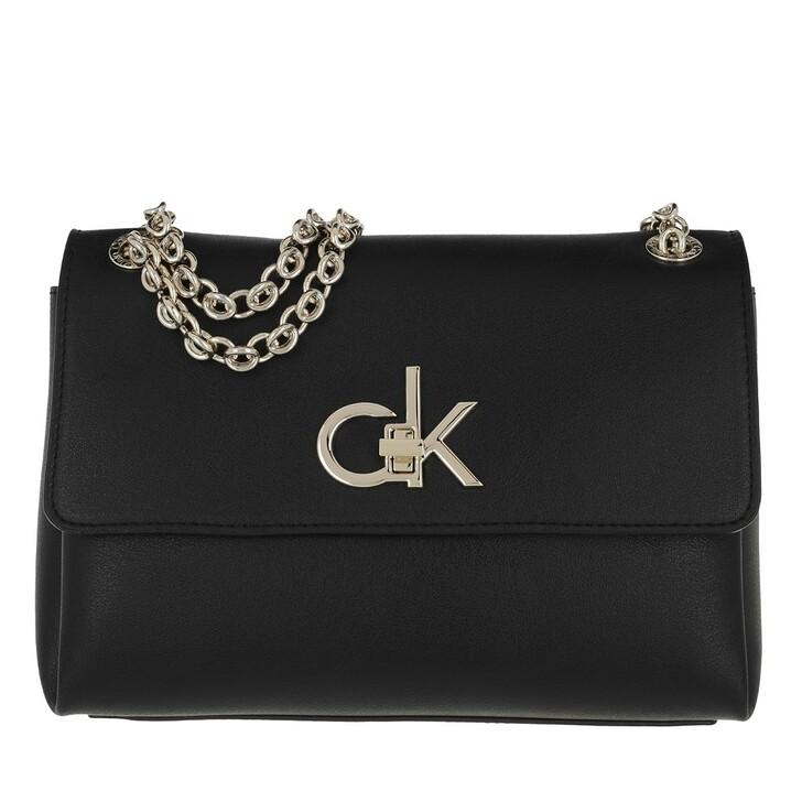 bags, Calvin Klein, Re-Lo Conv Flap Crossbody Black