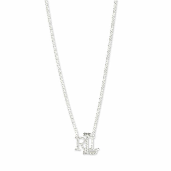 "necklaces, Lauren Ralph Lauren, Necklace 14"" LRL Logo Pendant Silver"